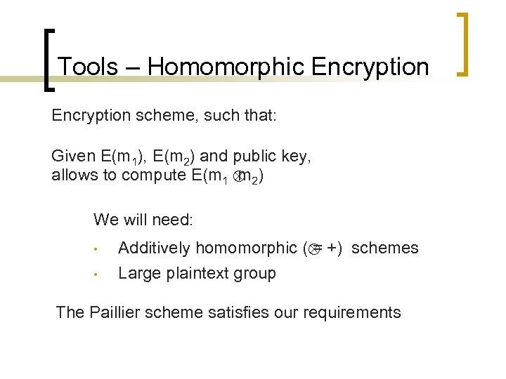 Tools – Homomorphic Encryption scheme, such that: Given E(m 1), E(m 2) and public