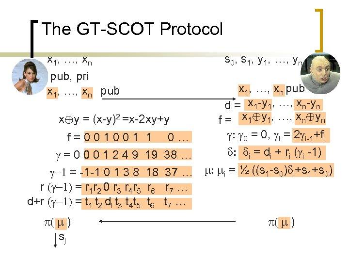 The GT-SCOT Protocol x 1, …, xn s 0, s 1, y 1, …,