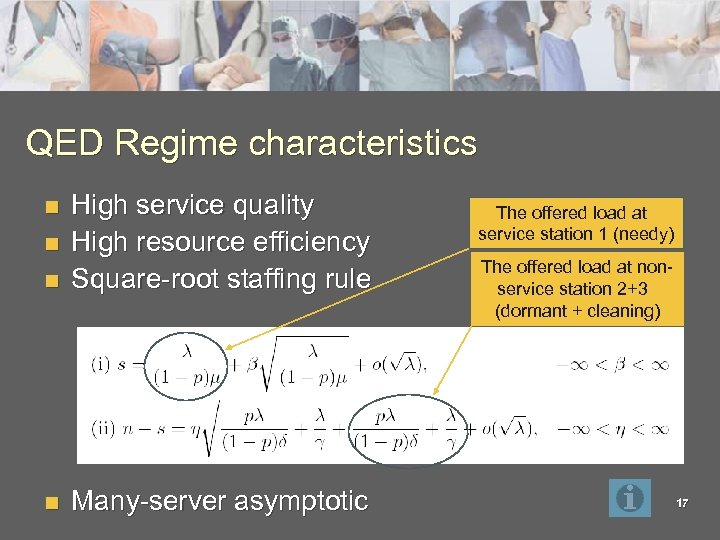 QED Regime characteristics n High service quality High resource efficiency Square-root staffing rule n