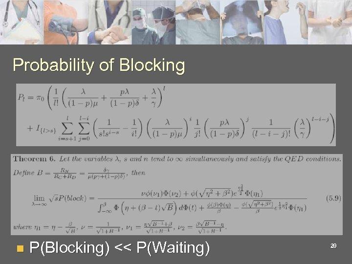 Probability of Blocking n P(Blocking) << P(Waiting) 20