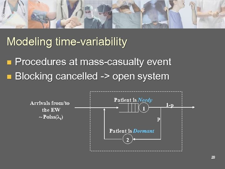 Modeling time-variability Procedures at mass-casualty event n Blocking cancelled -> open system n Arrivals