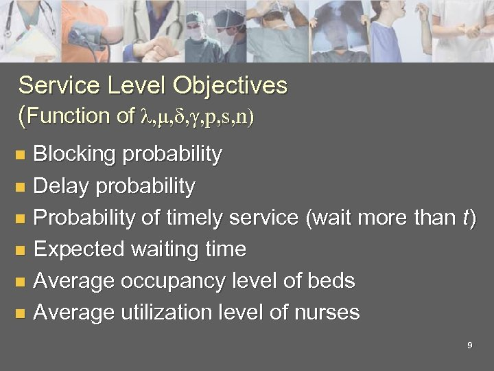 Service Level Objectives (Function of λ, μ, δ, γ, p, s, n) Blocking probability