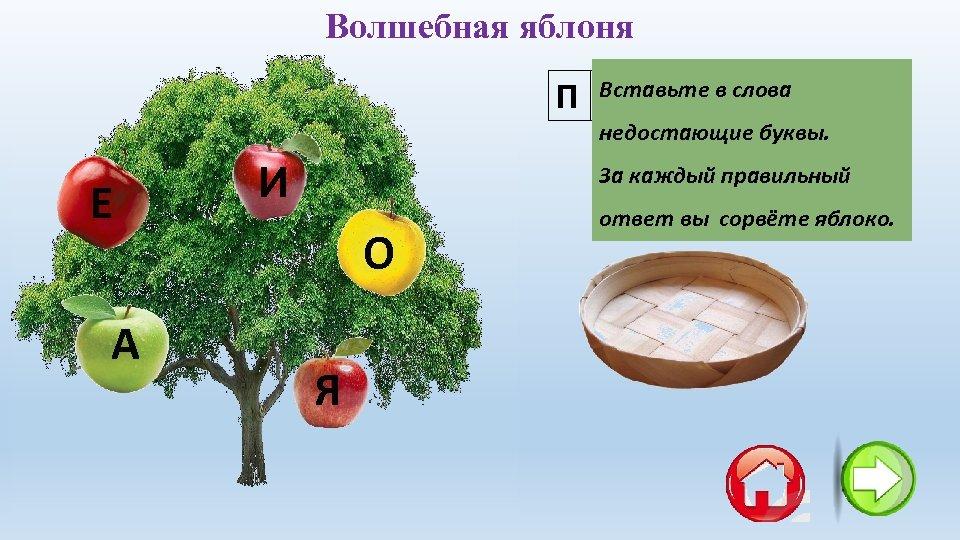 Волшебная яблоня Вставьте слова П Е С Т в. Р Е Т Ь недостающие