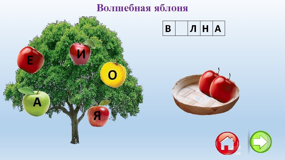 Волшебная яблоня В О Л Н А Е А И О Я