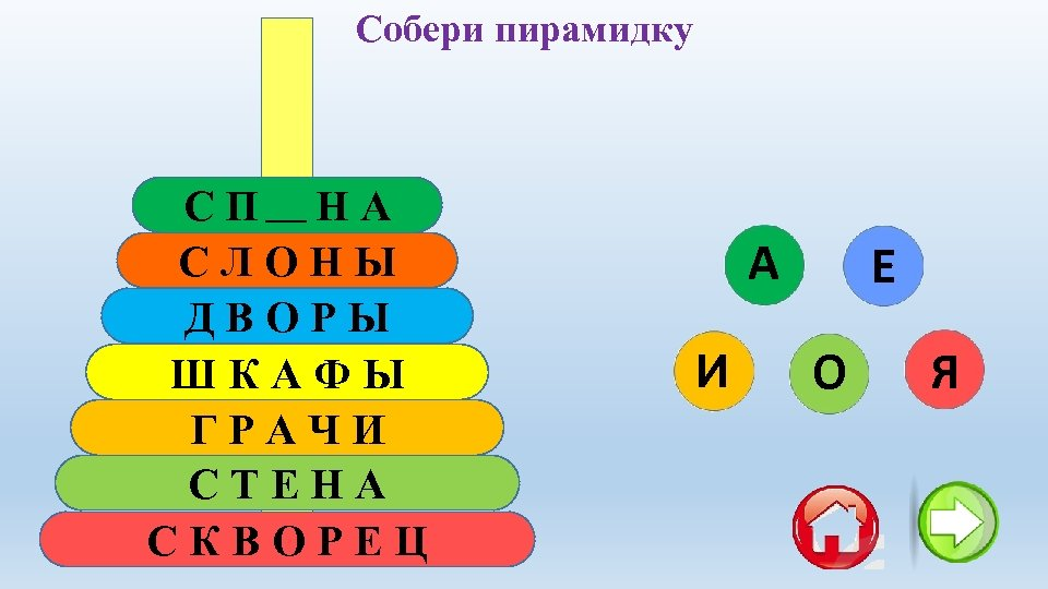 Собери пирамидку СПИНА СЛОНЫ ДВОРЫ ШКАФЫ ГРАЧИ СТЕНА СКВОРЕЦ А И Е О Я