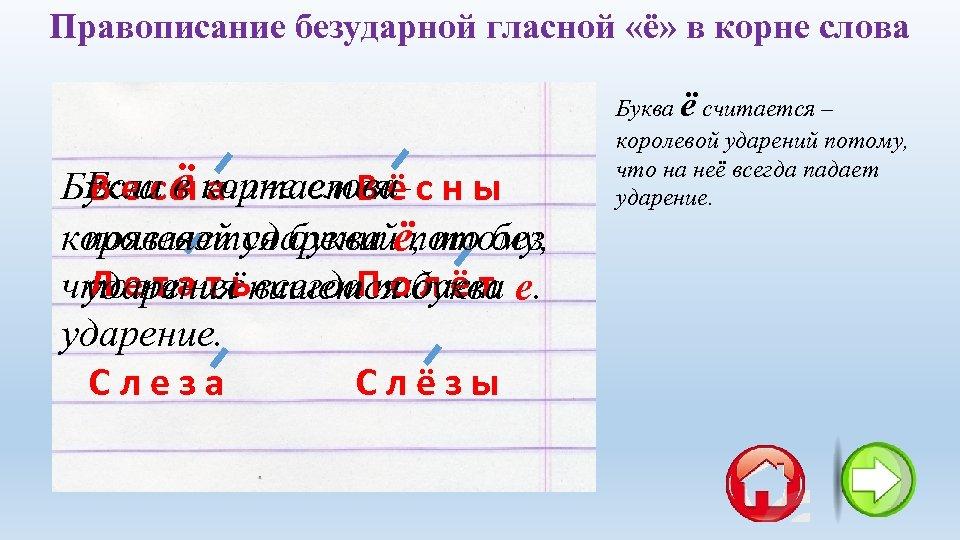 Правописание безударной гласной «ё» в корне слова Если в корне слова Буква ё считается–