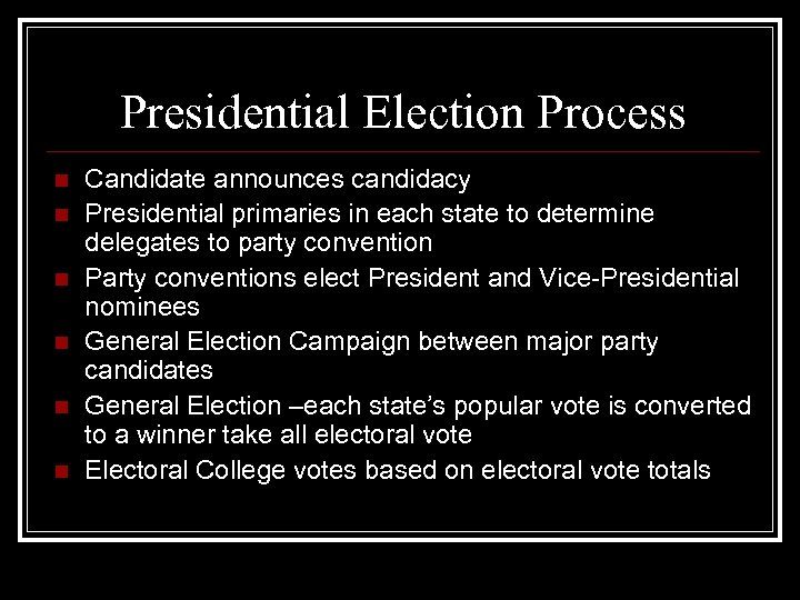Presidential Election Process n n n Candidate announces candidacy Presidential primaries in each state
