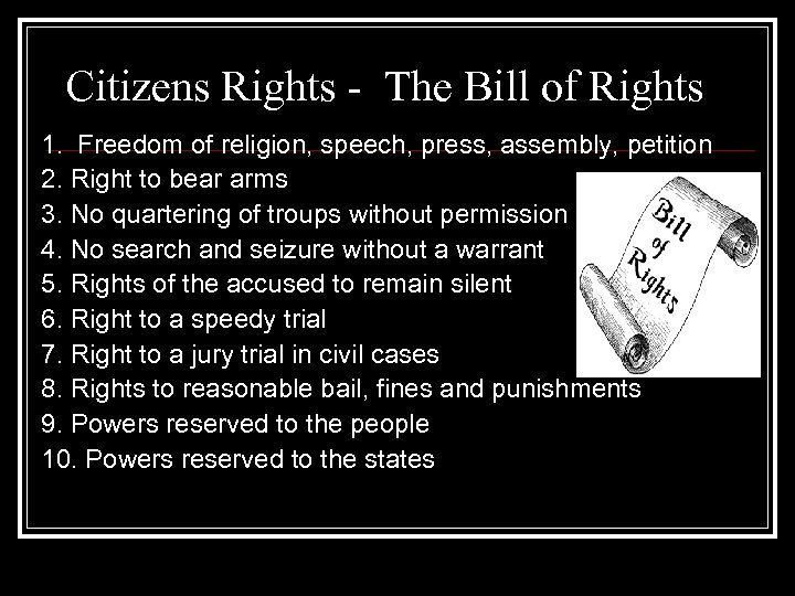 Citizens Rights - The Bill of Rights 1. Freedom of religion, speech, press, assembly,
