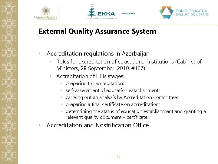 External Quality Assurance System • Accreditation regulations in Azerbaijan • Rules for accreditation of