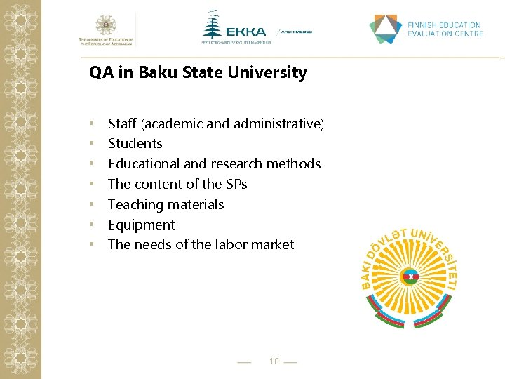 QA in Baku State University • • Staff (academic and administrative) Students Educational and