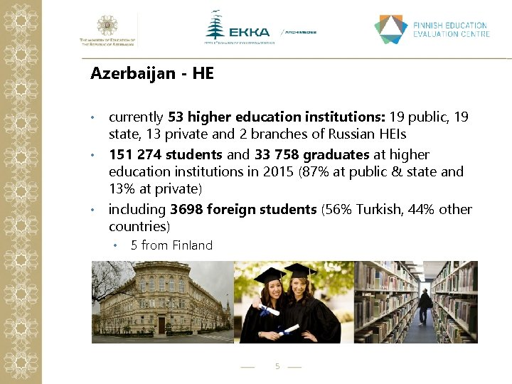 Azerbaijan - HE currently 53 higher education institutions: 19 public, 19 state, 13 private