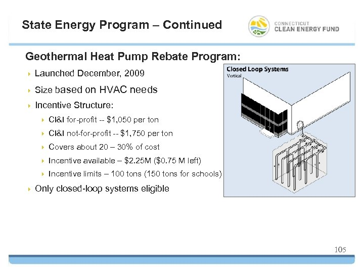 State Energy Program – Continued Geothermal Heat Pump Rebate Program: 4 Launched December, 2009