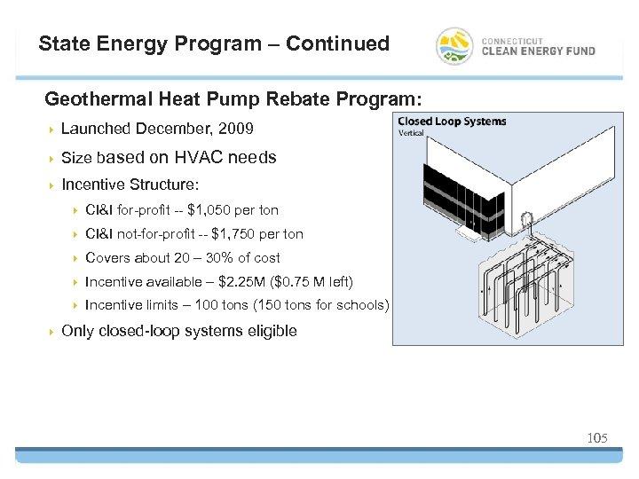 State Energy Program – Continued Geothermal Heat Pump Rebate Program: 4 Launched December, 2009
