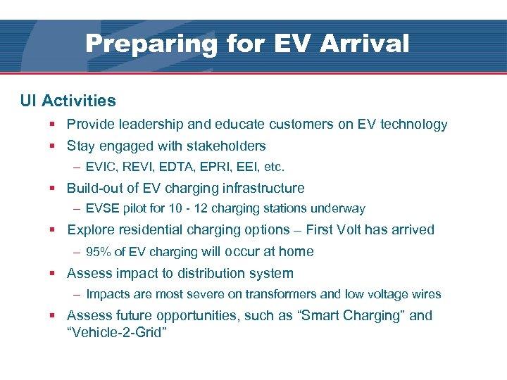 Preparing for EV Arrival UI's EV Pilot UI Activities § Provide leadership and educate