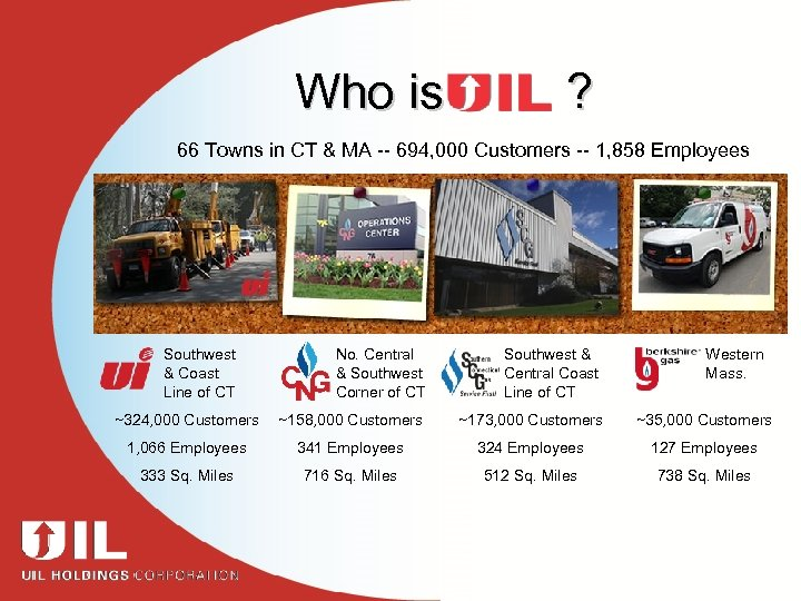 Who is ? 66 Towns in CT & MA -- 694, 000 Customers --