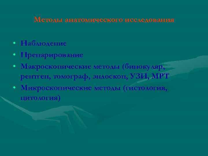 Методы анатомического исследования • Наблюдение • Препарирование • Макроскопические методы (бинокуляр, рентген, томограф, эндоскоп,