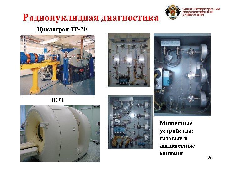 Радионуклидная диагностика Циклотрон ТР-30 ПЭТ Мишенные устройства: газовые и жидкостные мишени 20