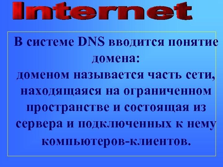 В системе DNS вводится понятие домена: доменом называется часть сети, находящаяся на ограниченном пространстве