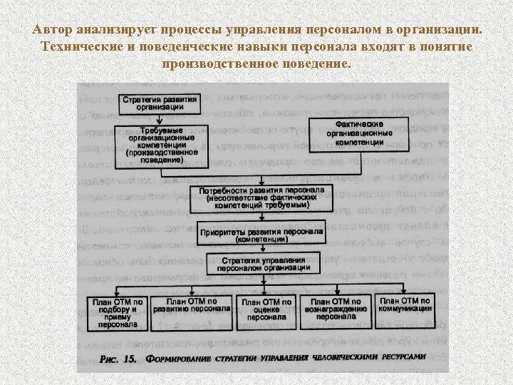 Автор анализирует процессы управления персоналом в организации. Технические и поведенческие навыки персонала входят в