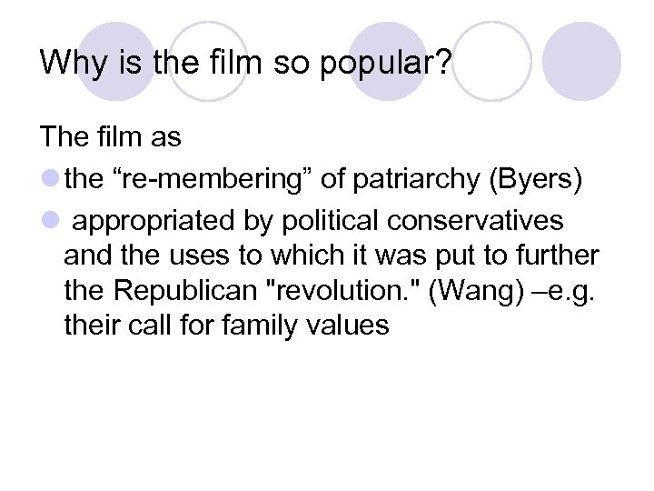 """Why is the film so popular? The film as l the """"re-membering"""" of patriarchy"""