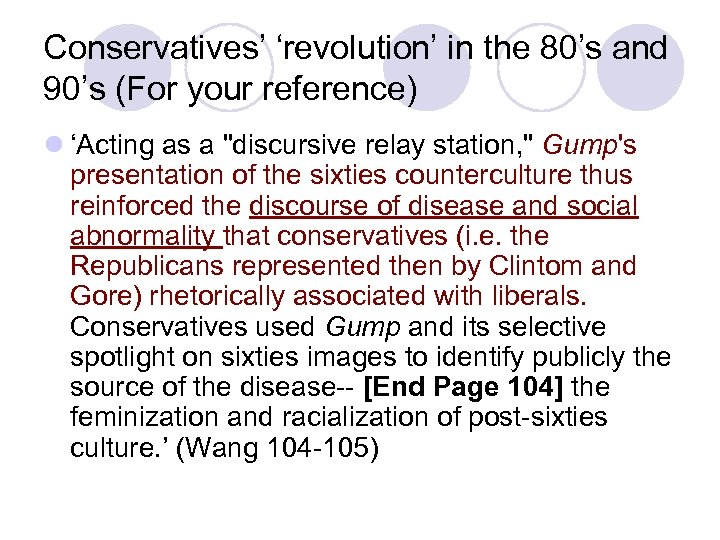 Conservatives' 'revolution' in the 80's and 90's (For your reference) l 'Acting as a