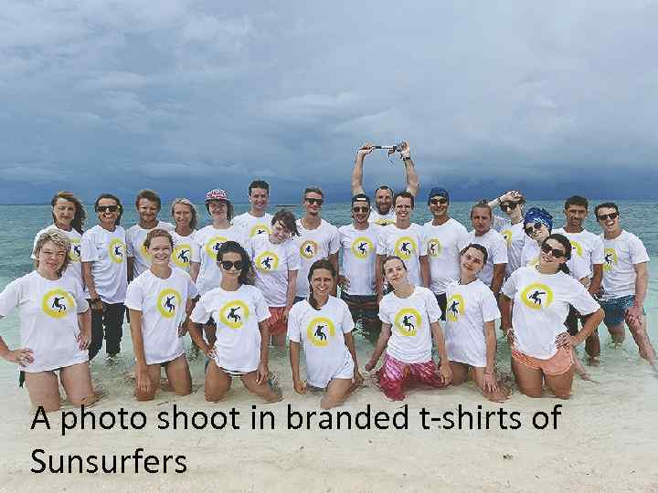 A photo shoot in branded t-shirts of Sunsurfers