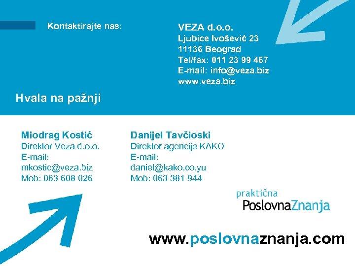 Kontaktirajte nas: VEZA d. o. o. Ljubice Ivošević 23 11136 Beograd Tel/fax: 011 23