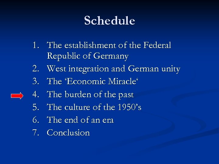 Schedule 1. The establishment of the Federal Republic of Germany 2. West integration and