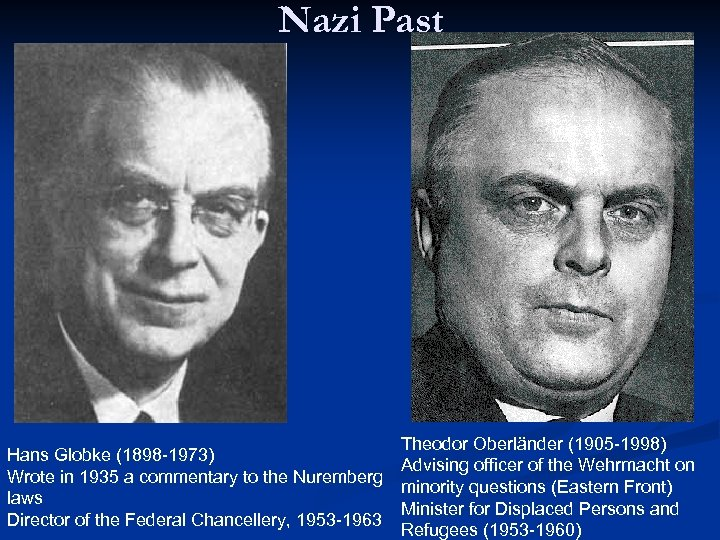 Nazi Past Theodor Oberländer (1905 -1998) Hans Globke (1898 -1973) Advising officer of the
