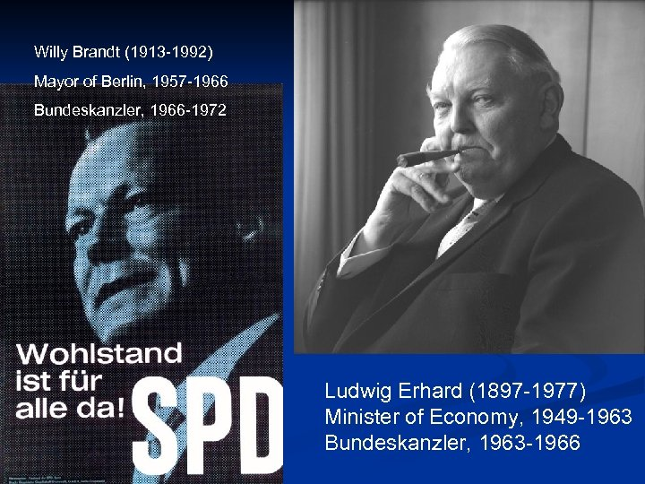 Willy Brandt (1913 -1992) Mayor of Berlin, 1957 -1966 Bundeskanzler, 1966 -1972 Ludwig Erhard