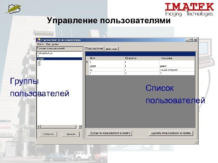 Управление пользователями Группы пользователей Список пользователей