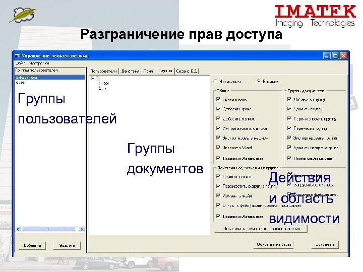 Разграничение прав доступа Группы пользователей Группы документов Действия и область видимости