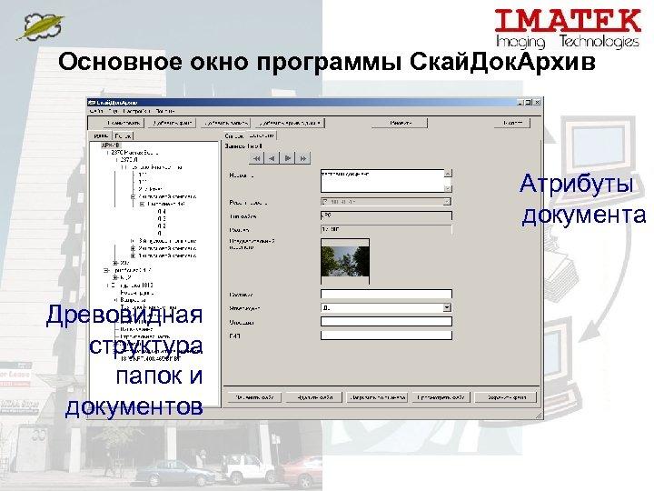 Основное окно программы Скай. Док. Архив Атрибуты документа Древовидная структура папок и документов