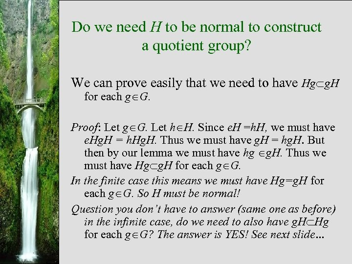 Do we need H to be normal to construct a quotient group? We can