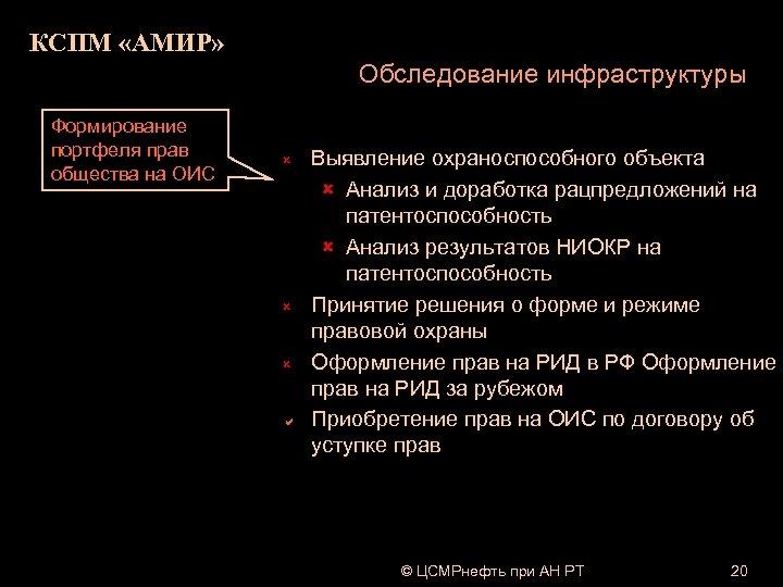 КСПМ «АМИР» Обследование инфраструктуры Формирование портфеля прав общества на ОИС û û û a