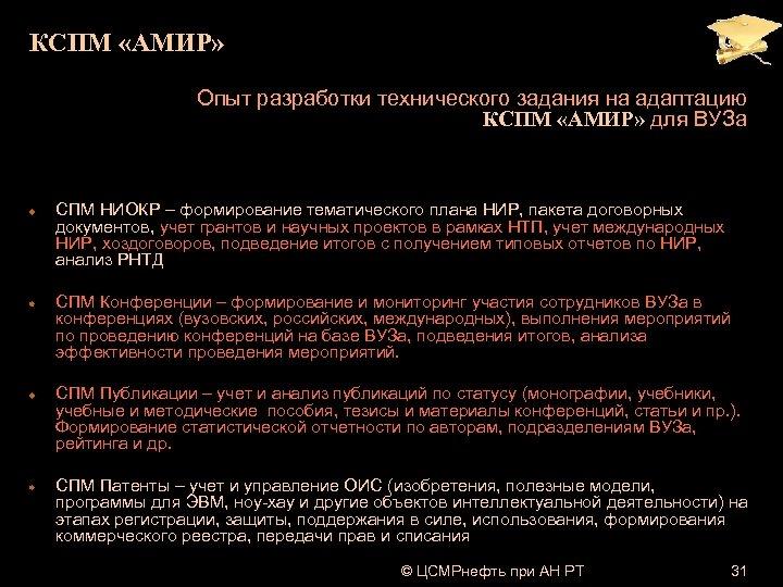 КСПМ «АМИР» Опыт разработки технического задания на адаптацию КСПМ «АМИР» для ВУЗа СПМ НИОКР