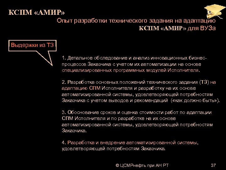 КСПМ «АМИР» Опыт разработки технического задания на адаптацию КСПМ «АМИР» для ВУЗа Выдержки из