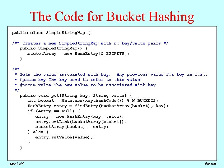 The Code for Bucket Hashing public class Simple. String. Map { /** Creates a