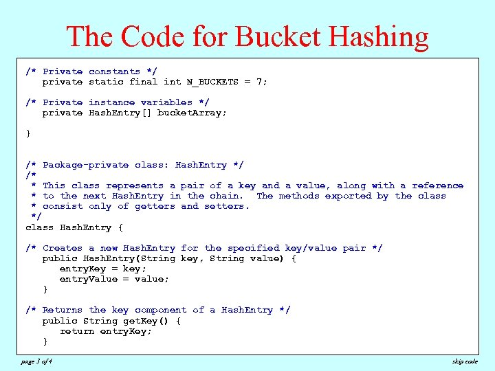 The Code for Bucket Hashing /**Private constants */ /* * Retrieves the value associated