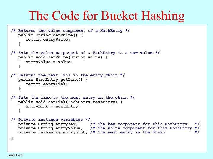 The Code for Bucket Hashing /* Private constants */ Returns the value component of