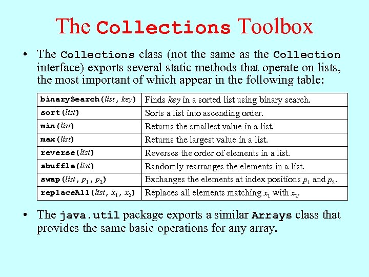 The Collections Toolbox • The Collections class (not the same as the Collection interface)