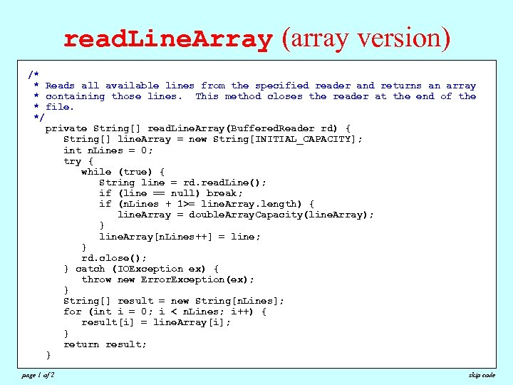 read. Line. Array (array version) /* * Reads all available lines from the specified