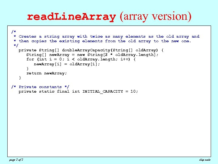 read. Line. Array (array version) /* /* * Reads all available lines from the