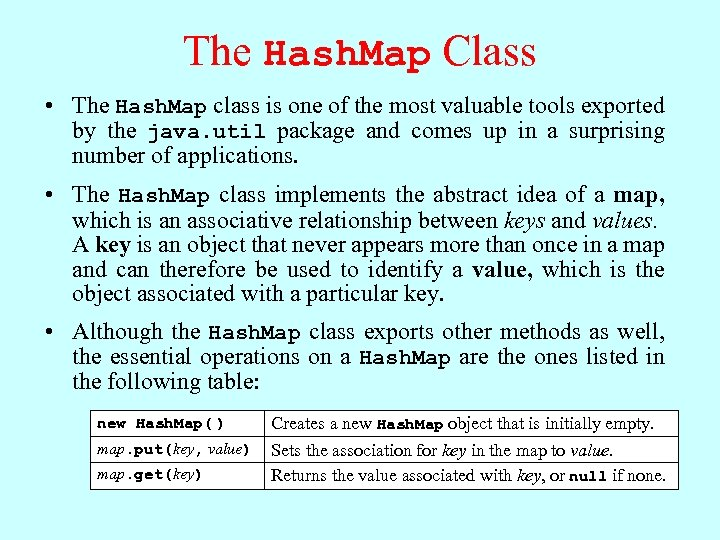 The Hash. Map Class • The Hash. Map class is one of the most