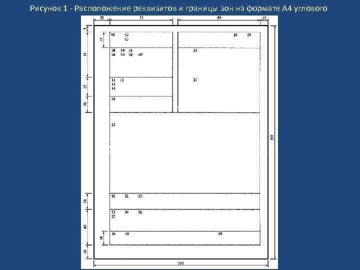 Рисунок 1 - Расположение реквизитов и границы зон на формате А 4 углового бланка