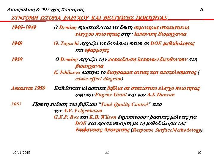 Διασφάλιση & 'Ελεγχος Ποιότητας Α SUNTOMH ISTORIA ELEGCOU KAI BELTIWSHS POIOTHTAS 1946 -1949 O