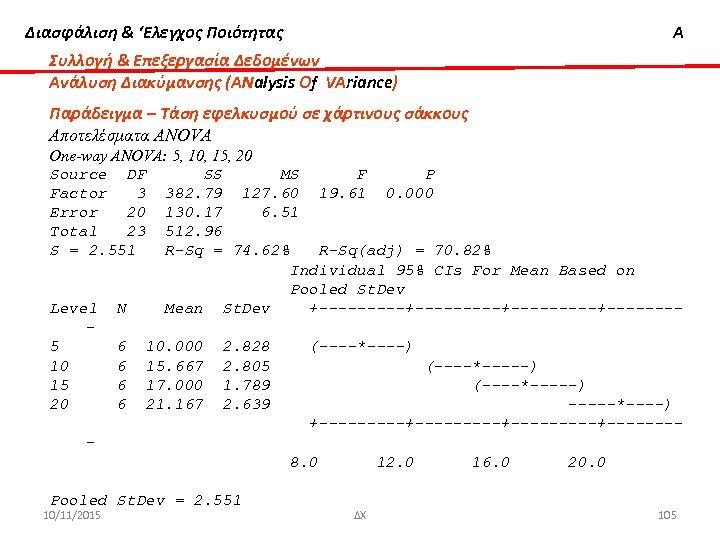 Διασφάλιση & 'Ελεγχος Ποιότητας Α Συλλογή & Επεξεργασία Δεδομένων Ανάλυση Διακύμανσης (ΑΝalysis Οf VΑriance)