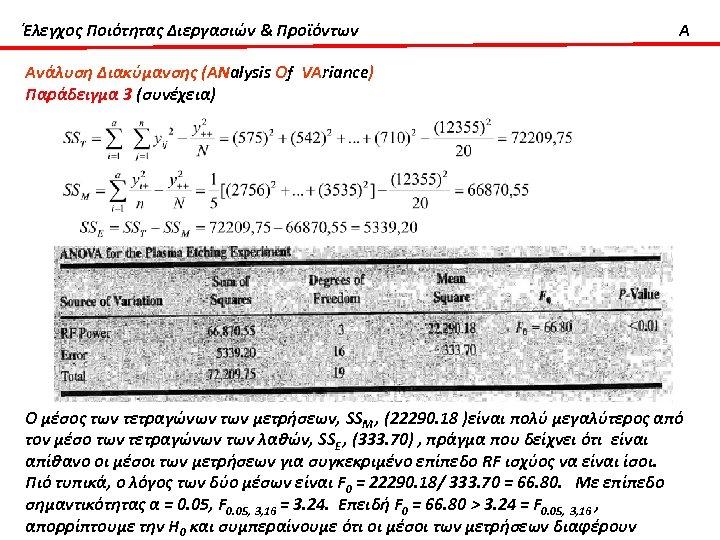 Έλεγχος Ποιότητας Διεργασιών & Προϊόντων A Ανάλυση Διακύμανσης (ΑΝalysis Οf VΑriance) Παράδειγμα 3 (συνέχεια)