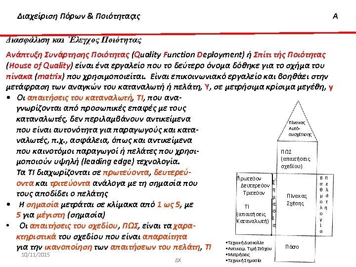Διαχείριση & 'Ελεγχος Ποιότητας Διασφάλιση Πόρων & Ποιότητας Α Διασφάλιση και ΄Ελεγχος Ποιότητας Ανάπτυξη