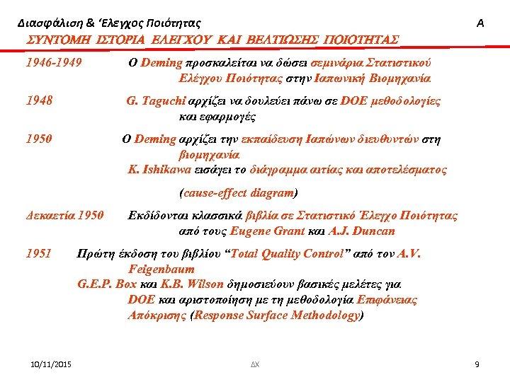 Διασφάλιση & 'Ελεγχος Ποιότητας SUNTOMH ISTORIA ELEGCOU KAI BELTIWSHS POIOTHTAS 1946 -1949 O Deming